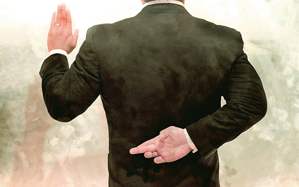 Editorial style illustration of a business man or politician taking an oath. This is a two part illustration.